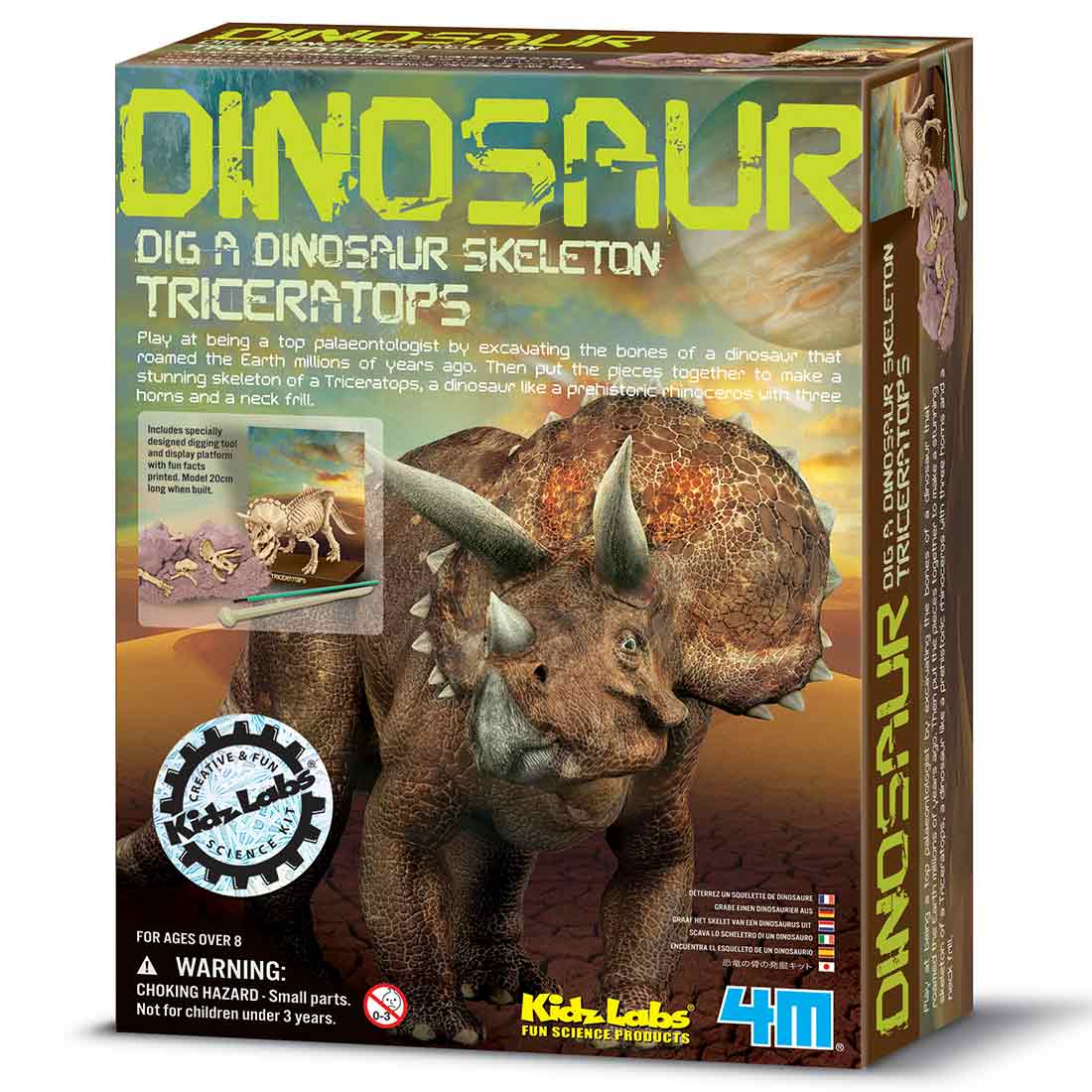 חפירת שלד דינוזאור Triceratops ערכת ארכאולוגיה לילדים