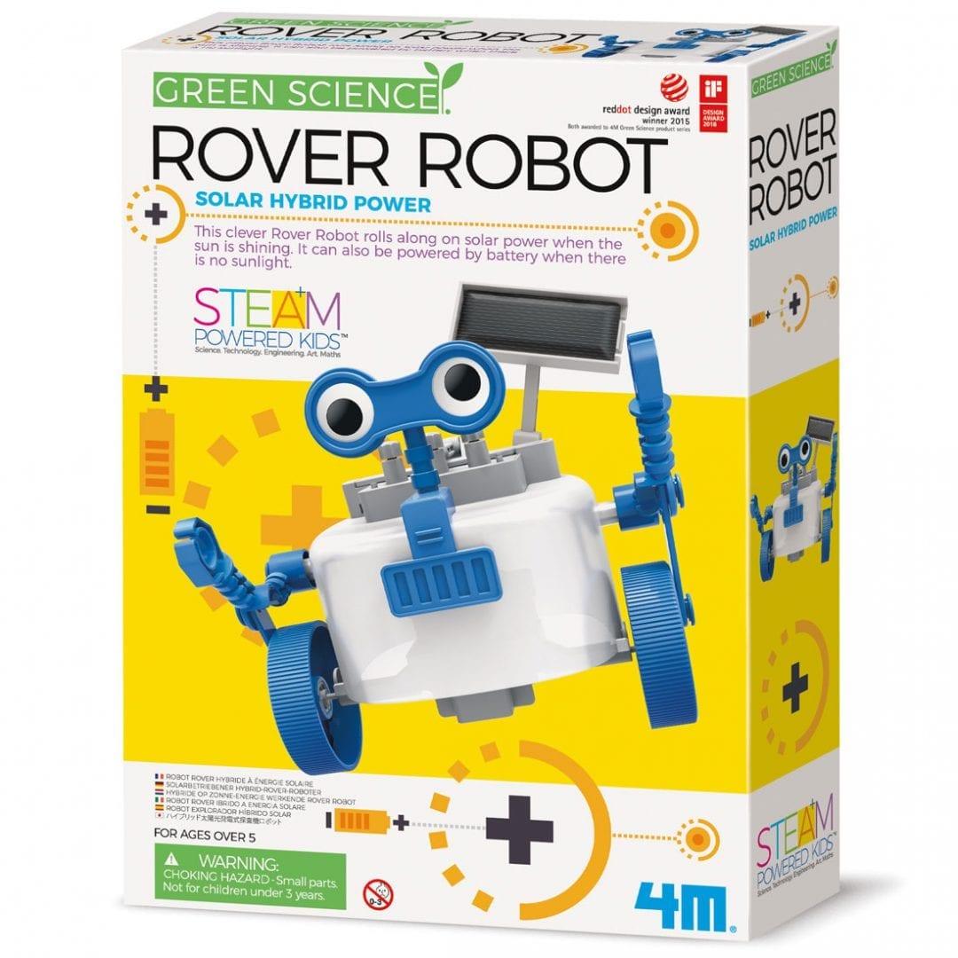 קיט בניה לילדים רובוט רובר היברידי לוח סולארי או סוללות