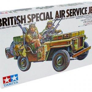 """מודל הרכבה ג'יפ ויליס אנגלי של צבא ארה""""ב עם מקלען ותת מקלע דגם TAMIYA 1/35"""