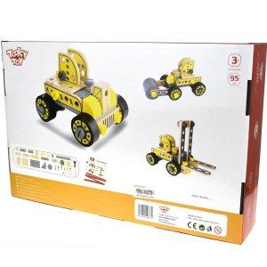 טרקטור מלגזה ורכבי עבודה – ערכת בניה לילדים מעץ רב פעמית 93 חלקים DIY