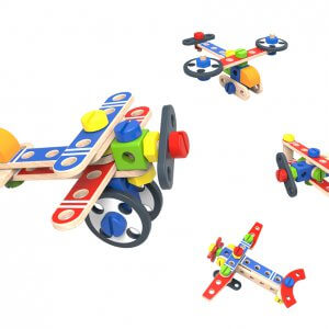 מטוסים – ערכת בניה לילדים מעץ רב פעמית 48 חלקים DIY