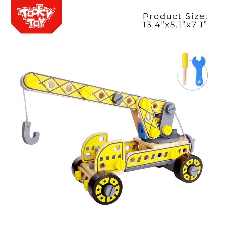 מנופים ומשאיות – ערכת בניה לילדים מעץ ובורג רב פעמית 98 חלקים DIY