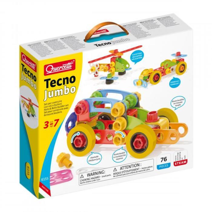 טכנו ג'מבו – ערכת בניה חיבור ברגים והרכבה לילדים 3-7 מבית Quercetti איטליה 72 חלקים