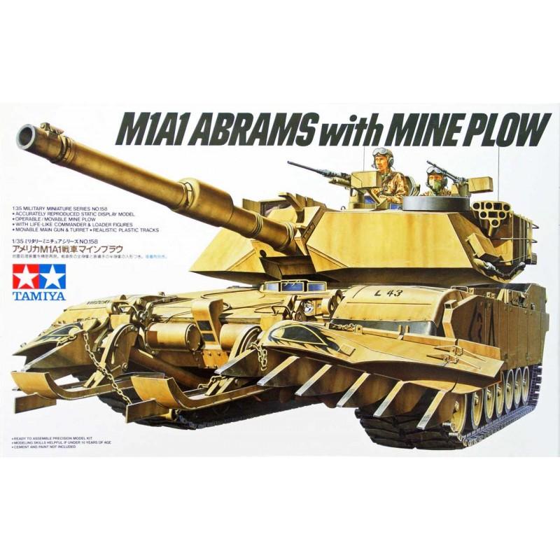 מודל הרכבה לילד טנק ABRAMS M1A1 + מגוב צבא ארהב דגם TAMIYA 1/35