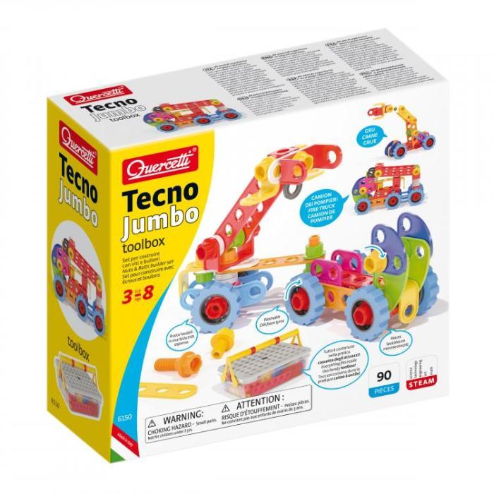 טכנו ג'מבו – ערכת בניה חיבור ברגים והרכבה לילדים 3-8 מבית Quercetti איטליה 90 חלקים